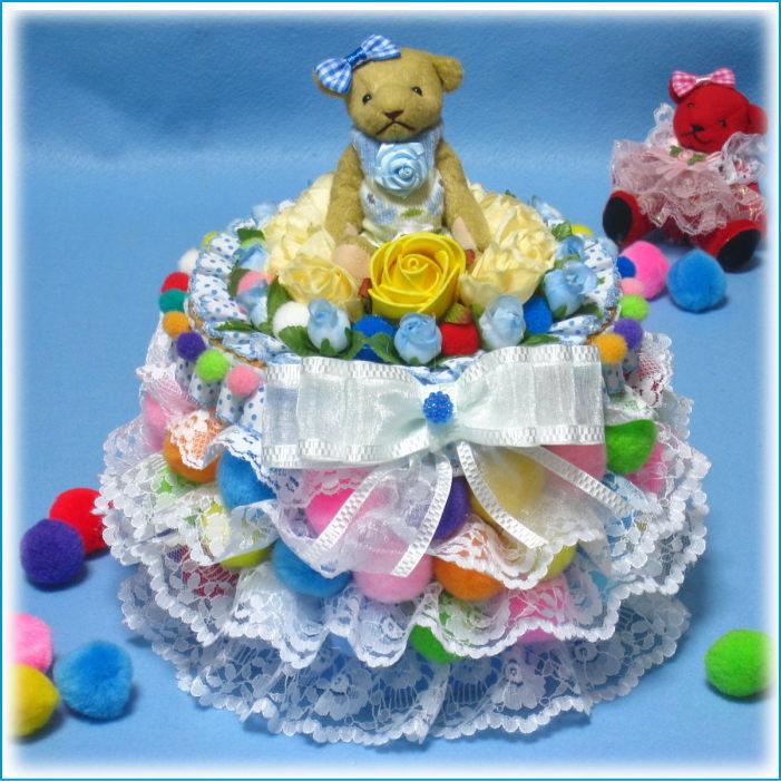 レースやお花のオムツケーキ とてもカラフルな丸い形の1段おむつケーキ【あす楽対応】【おむつケーキ 出産祝い 名入れ プレゼント 贈り物】の画像2枚目
