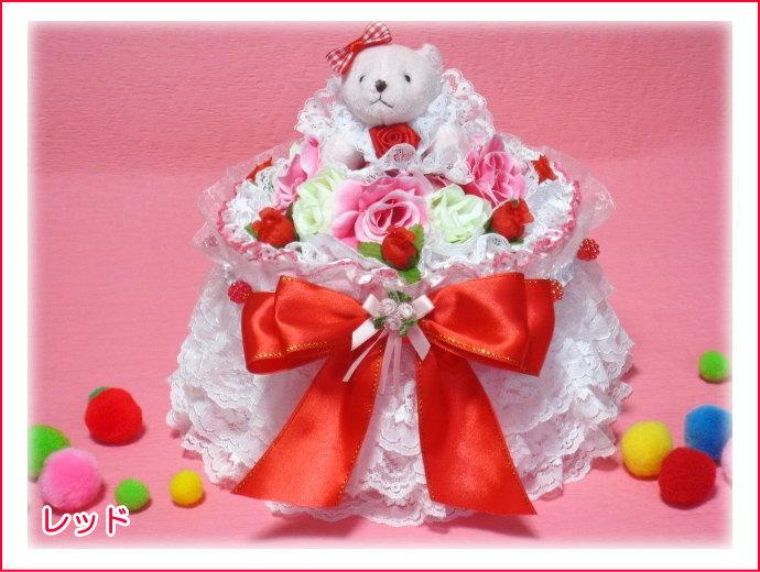お花や3層レース、幅の広いリボンを飾したオムツケーキ/1段ボックスおむつケーキ【あす楽対応】【おむつケーキ 出産祝い 名入れ プレゼント 贈り物】の画像1枚目