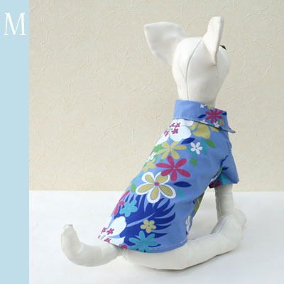 アロハシャツ ブルー地にパステル花柄【誕生日 贈り物 プレゼント ギフト ペット 愛犬 服】の画像1枚目