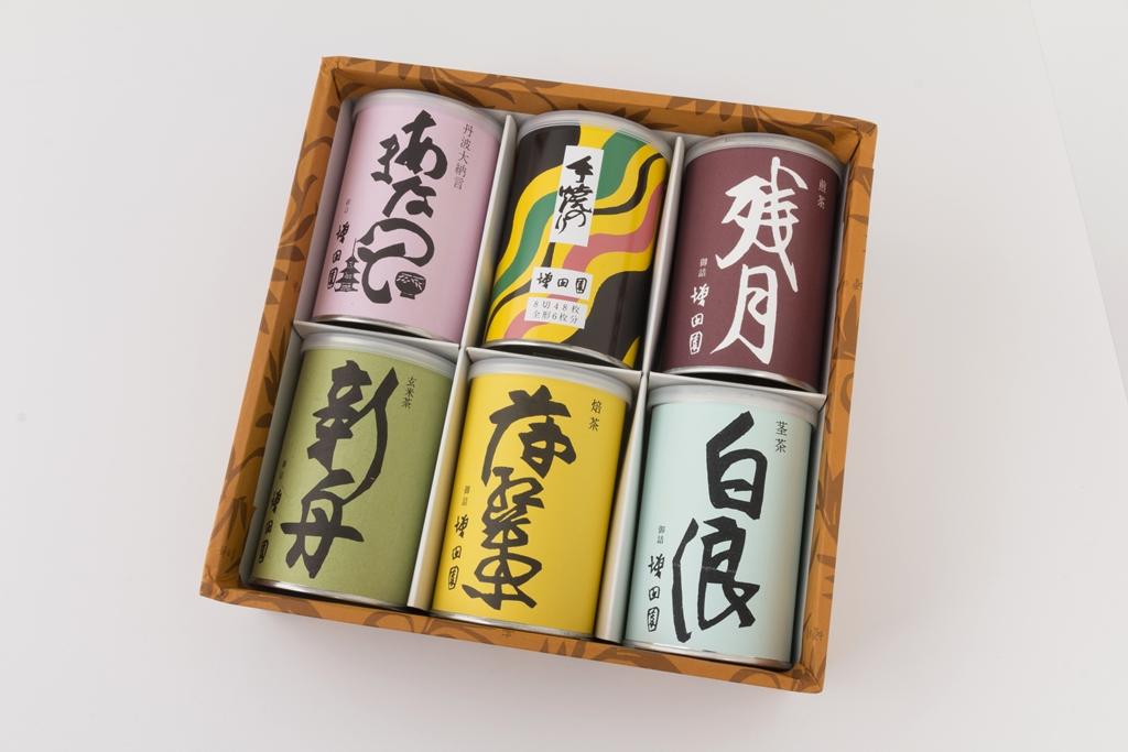 【日本茶6缶セット】 煎茶/茎茶/手焼のり/焙茶/甘なっとう/抹茶入り玄米茶【誕生日 バースデー ギフト 贈り物 プレゼント お祝い 詰め合わせ】の画像1枚目