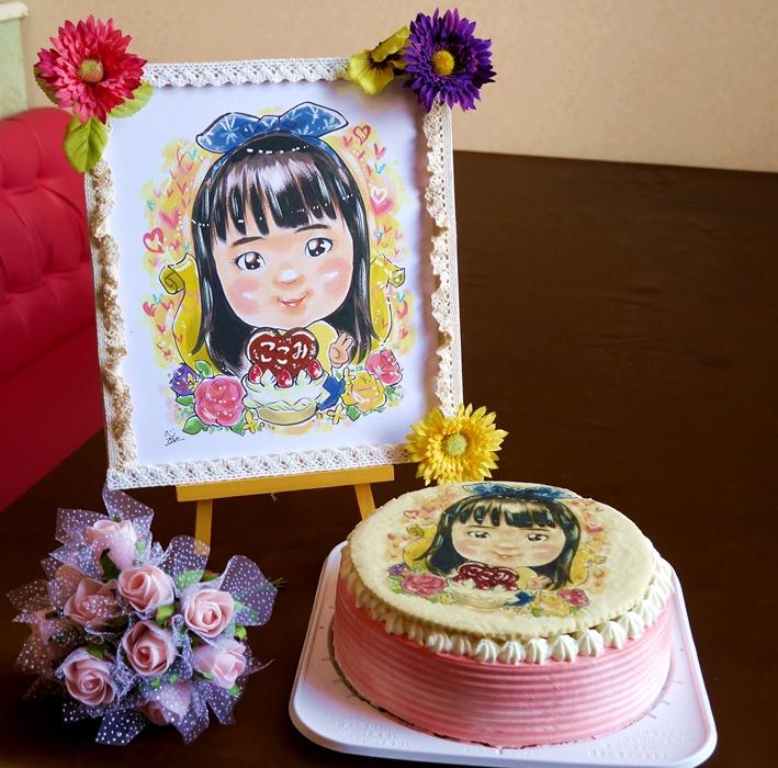 プロの似顔絵師によるイラストケーキ4号(サークル)