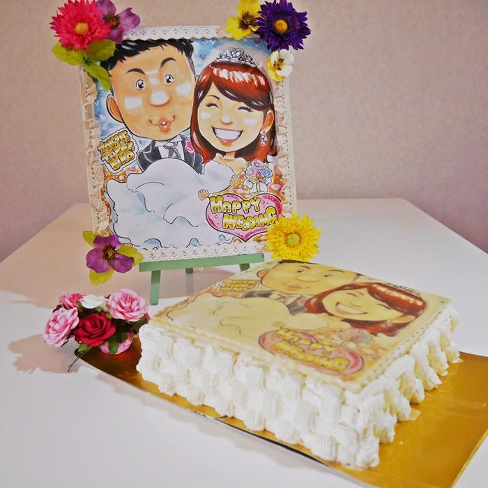 プロの似顔絵師によるウェディングイラストケーキ4号