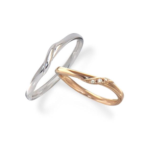 <br>納期約2週間<br>【刻印無料】【ペア販売】<br>◆Lovers & Ring ラバーズリング◆ピンクゴールド&ホワイトゴールド K10ペアリング【LSR0655DPK-WG】<br>【ラブリング 指輪 ダイヤモンド プレゼント リング ジュエリー ダイヤ シンプル お揃い 彼氏 彼女】