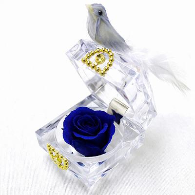 青いバラの花言葉は「夢叶う」結婚式の引き出物にも!ブルーバード【プリザーブドフラワー フラワーギフト プレゼント ギフト】の画像4枚目