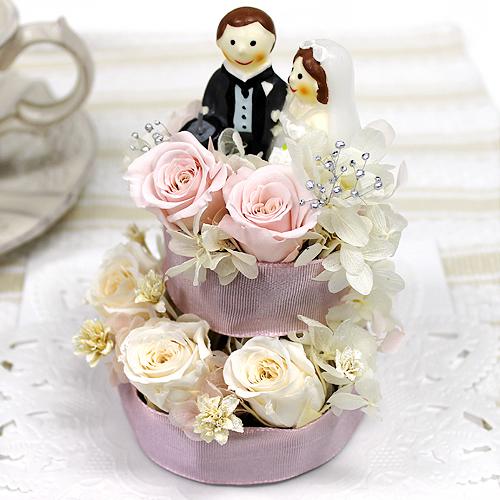 プチウェディングケーキ【プリザーブドフラワー アレンジメント フラワーギフト プレゼント ギフト】の画像1枚目