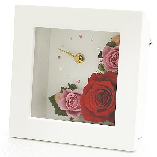 時計とお花のアレンジ アナスタシア【プリザーブドフラワー アレンジメント フラワーギフト プレゼント ギフト】