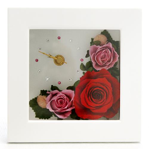 時計とお花のアレンジ アナスタシア【プリザーブドフラワー アレンジメント フラワーギフト プレゼント ギフト】の画像2枚目