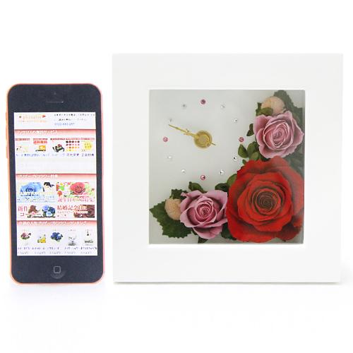 時計とお花のアレンジ アナスタシア【プリザーブドフラワー アレンジメント フラワーギフト プレゼント ギフト】の画像5枚目