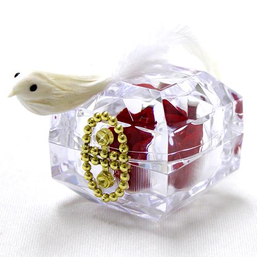 幸運を呼ぶ白い鳥!紅白の組み合わせがおめでたい!レッドバード【プリザーブドフラワー フラワーギフト プレゼント ギフト】の画像2枚目