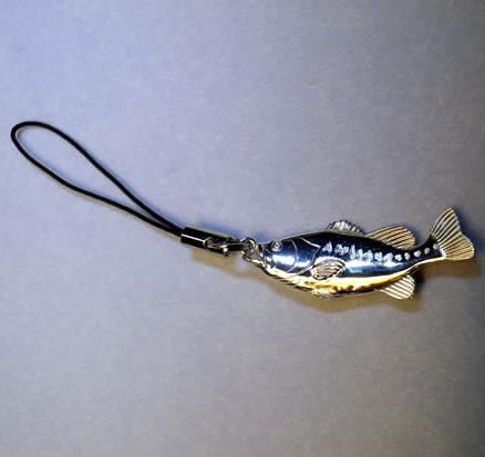 銀のブラックバス(シルバー)(立体型)【誕生日 バースデー ギフト 贈り物 プレゼント 記念品 アクセサリー  ストラップ 魚】の画像2枚目