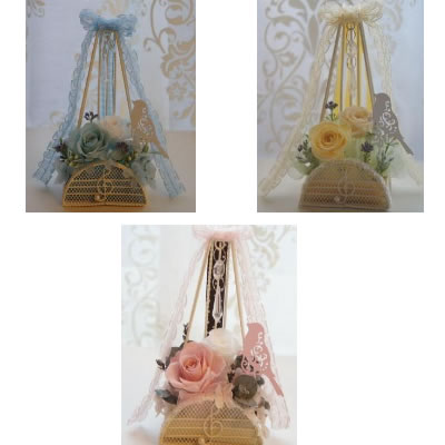 【送料無料】メトロノーム〜リボン〜 シャーベットピンク designed by Saori【プリザーブドフラワー アレンジメント フラワーギフト プレゼント 誕生日 贈り物 プレゼント】の画像1枚目