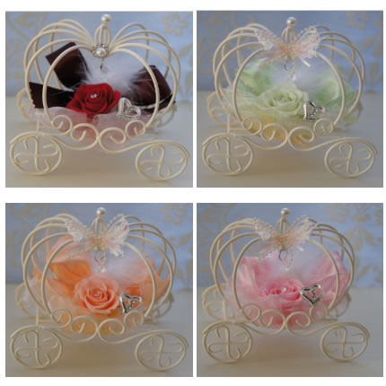 【送料無料】カボチャの馬車 ピンク designed by Yoko【プリザーブドフラワー アレンジメント フラワーギフト プレゼント】の画像1枚目