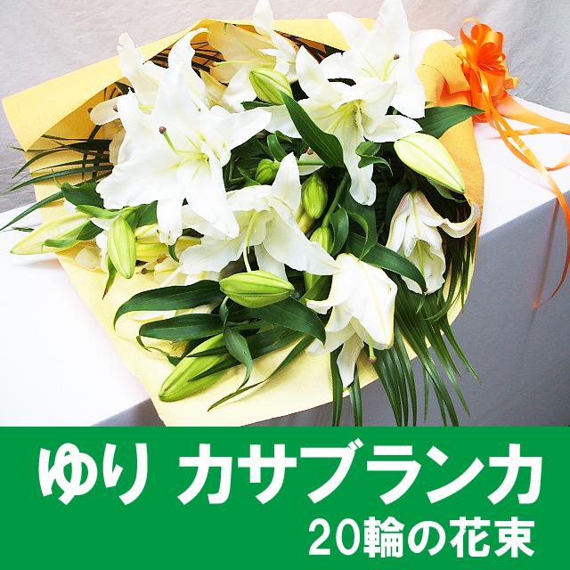 花 カサブランカ 花束。純白の大輪、百合の女王・豪華な花束です。ツボミの多いままお届けします 送料無料 暑い時期はクール便でお届けします