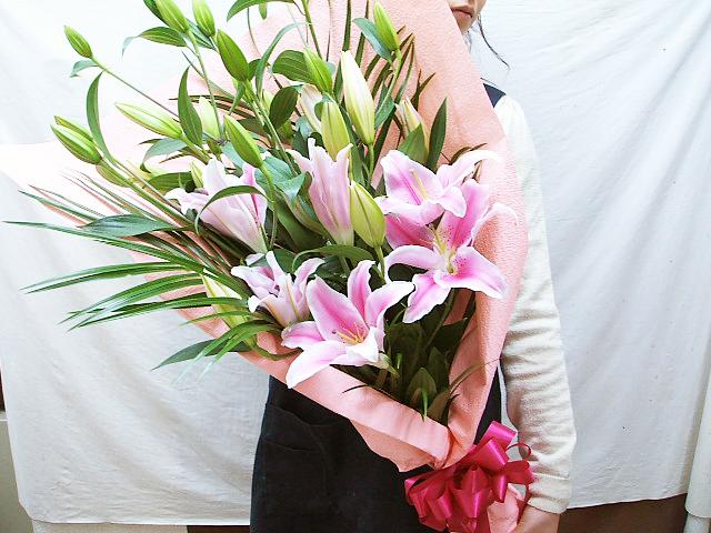 ユリ ピンクの花束 暖かなピンクの百合 送料無料 暑い時期はクール便でお届けします