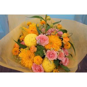 黄色系花束 おまかせ花束  お祝い お誕生日 お見舞い ギフト 結婚記念日 開店祝い 新築祝い 記念日