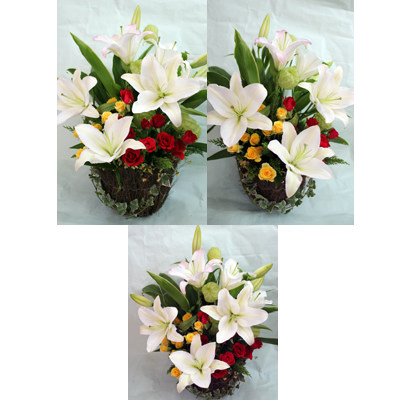 百合とバラのアレンジ【花 フラワーギフト プレゼント お祝い 誕生日 贈り物】の画像1枚目