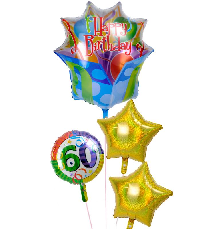 大きなギフトボックスときらきらスター、60才バルーンの還暦祝いブーケ【還暦祝いのバルーン電報・バルーンギフト】 g-60t-0011::966【おもちゃ・ホビー・ゲーム > パーティー・イベント用品・販促品 > パーティー・イベント用品 > バルーン・風船】記念日向けギフトの通販サイト「バースデープレス」