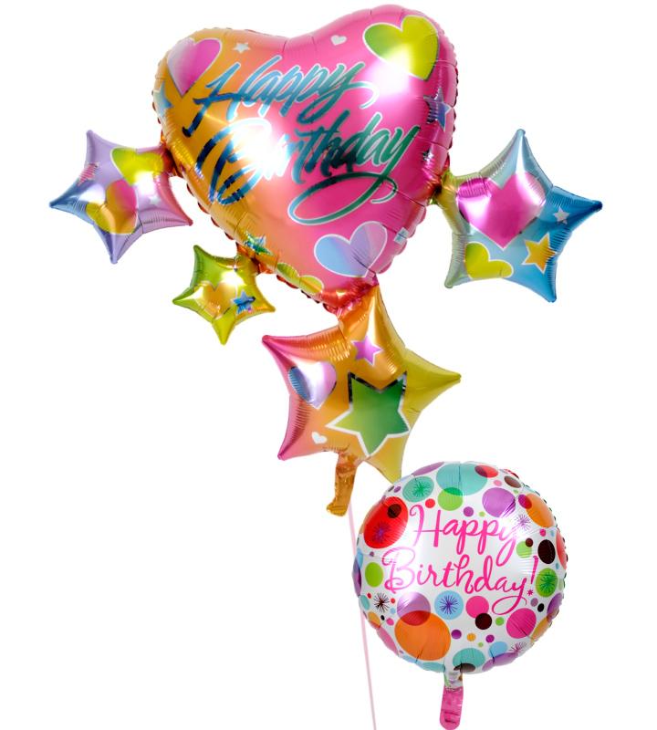 スパークリングスター&ハートと華やかドットの誕生日ブーケ【誕生日のバルーン電報・バルーンギフト】 g-btd-0035::966【おもちゃ・ホビー・ゲーム > パーティー・イベント用品・販促品 > パーティー・イベント用品 > バルーン・風船】記念日向けギフトの通販サイト「バースデープレス」