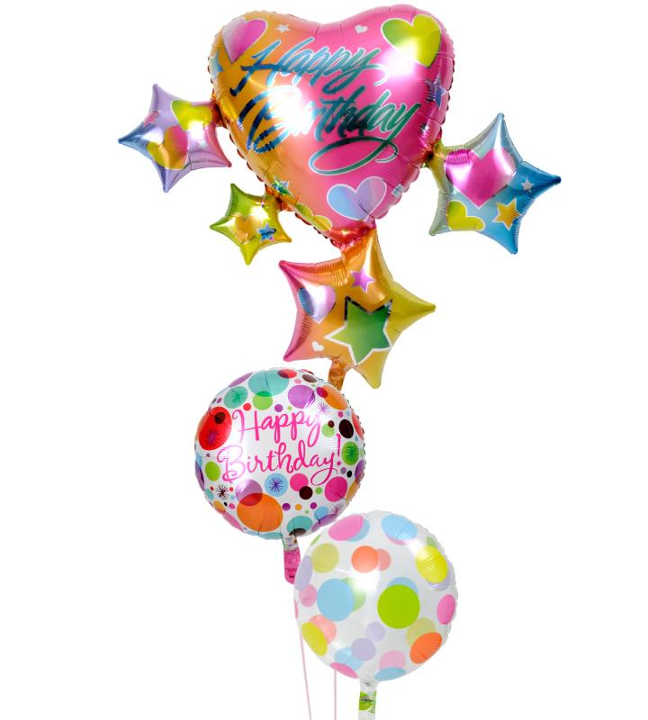 スパークリングスター&ハートとダブルドットの誕生日ブーケ【誕生日のバルーン電報・バルーンギフト】 g-btd-0056::966【おもちゃ・ホビー・ゲーム > パーティー・イベント用品・販促品 > パーティー・イベント用品 > バルーン・風船】記念日向けギフトの通販サイト「バースデープレス」