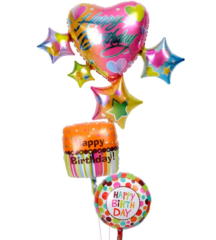 スパークリングスター&ハートとお菓子風ダブルドットの誕生日ブーケ【誕生日のバルーン電報・バルーンギフト】 g-btd-0057::966【おもちゃ・ホビー・ゲーム > パーティー・イベント用品・販促品 > パーティー・イベント用品 > バルーン・風船】記念日向けギフトの通販サイト「バースデープレス」
