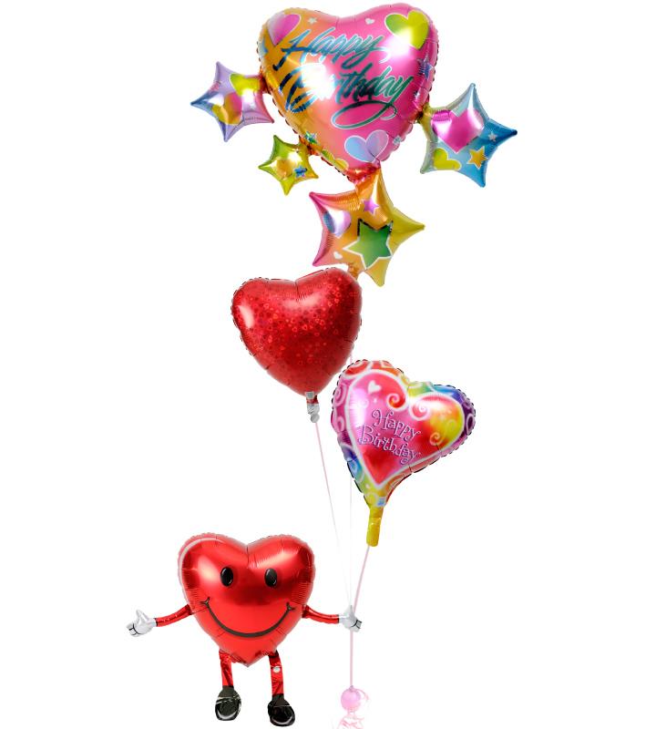 ハート君が持つスパークリングスター&ハートと赤いハートの誕生日ブーケ【誕生日のバルーン電報・バルーンギフト】 g-btd-0069::966【おもちゃ・ホビー・ゲーム > パーティー・イベント用品・販促品 > パーティー・イベント用品 > バルーン・風船】記念日向けギフトの通販サイト「バースデープレス」