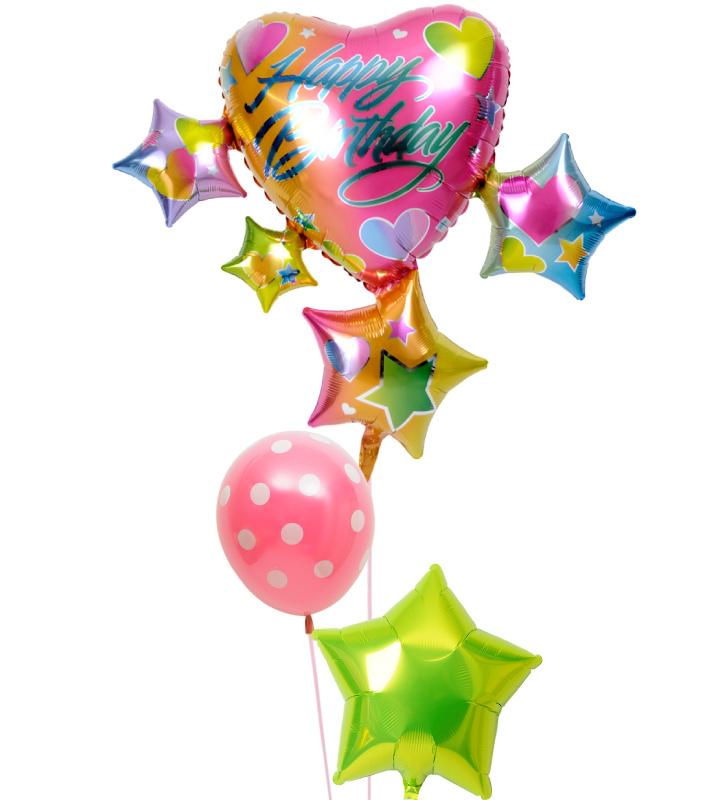 スパークリング☆スター&ハートとドットの誕生日ブーケ【誕生日のバルーン電報・バルーンギフト】 g-btd-0088::966【おもちゃ・ホビー・ゲーム > パーティー・イベント用品・販促品 > パーティー・イベント用品 > バルーン・風船】記念日向けギフトの通販サイト「バースデープレス」
