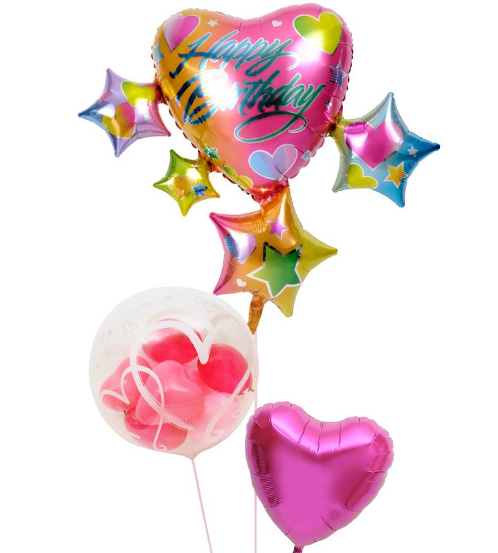 スパークリング☆スターに彩られた3つのハートの誕生日ブーケ【誕生日のバルーン電報・バルーンギフト】 g-btd-0089::966【おもちゃ・ホビー・ゲーム > パーティー・イベント用品・販促品 > パーティー・イベント用品 > バルーン・風船】記念日向けギフトの通販サイト「バースデープレス」