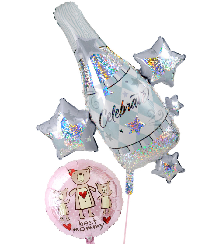 大きなシャンパンとピンクのクマの母の日に贈るバルーン電報・バルーンギフト【母の日のバルーン電報・バルーンギフト】 g-mtr-0018::966【おもちゃ・ホビー・ゲーム > パーティー・イベント用品・販促品 > パーティー・イベント用品 > バルーン・風船】記念日向けギフトの通販サイト「バースデープレス」