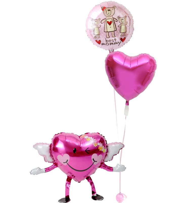 エンジェルちゃんが持つピンクのクマとピンクハートの母の日に贈るバルーン電報・バルーンギフト【母の日のバルーン電報・バルーンギフト】 g-mtr-0028::966【おもちゃ・ホビー・ゲーム > パーティー・イベント用品・販促品 > パーティー・イベント用品 > バルーン・風船】記念日向けギフトの通販サイト「バースデープレス」