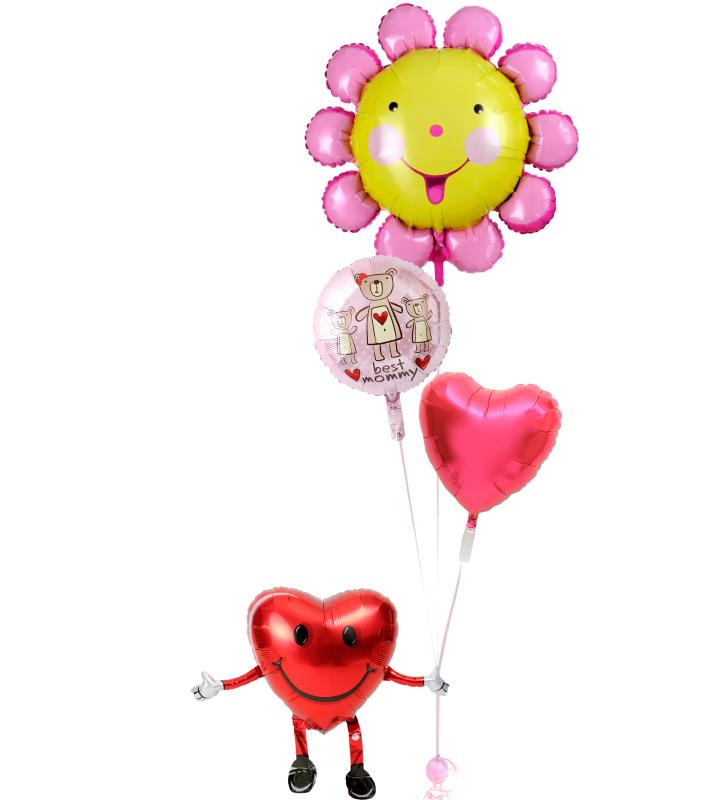 ハートくんが持つにこにこフラワーとピンクのクマ、レッドハートの母の日に贈るバルーン電報・バルーンギフト【母の日のバルーン電報・バルーンギフト】 g-mtr-0031::966【おもちゃ・ホビー・ゲーム > パーティー・イベント用品・販促品 > パーティー・イベント用品 > バルーン・風船】記念日向けギフトの通販サイト「バースデープレス」
