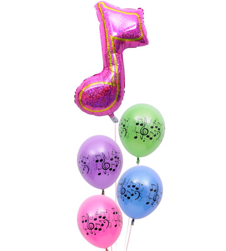 大きなピンクの8分音符と4連音符バルーンの発表会ブーケ【発表会のバルーン電報・バルーンギフト】 g-rec-0020::966【おもちゃ・ホビー・ゲーム > パーティー・イベント用品・販促品 > パーティー・イベント用品 > バルーン・風船】記念日向けギフトの通販サイト「バースデープレス」