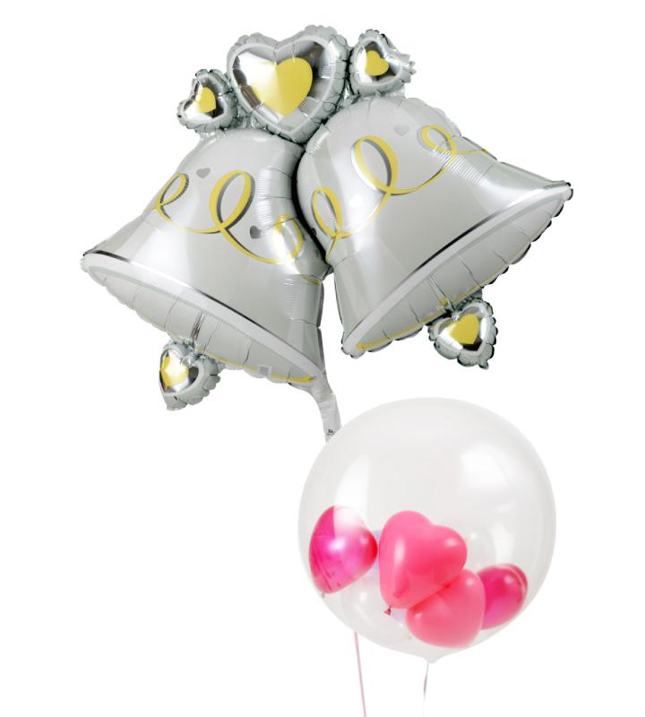 大きなウェディングベルとぷちハートの結婚式お祝いブーケ【結婚式のバルーン電報・バルーンギフト】 g-wed-0012::966【おもちゃ・ホビー・ゲーム > パーティー・イベント用品・販促品 > パーティー・イベント用品 > バルーン・風船】記念日向けギフトの通販サイト「バースデープレス」