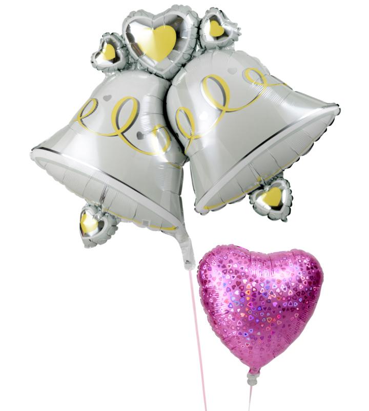 大きなウェディングベルときらきらピンクハートの結婚式お祝いブーケ【結婚式のバルーン電報・バルーンギフト】 g-wed-0013::966【おもちゃ・ホビー・ゲーム > パーティー・イベント用品・販促品 > パーティー・イベント用品 > バルーン・風船】記念日向けギフトの通販サイト「バースデープレス」