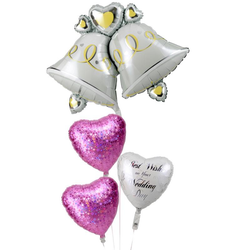 大きなウェディングベルときらきらピンクハート、ホワイトハートの結婚式お祝いブーケ【結婚式のバルーン電報・バルーンギフト】 g-wed-0030::966【おもちゃ・ホビー・ゲーム > パーティー・イベント用品・販促品 > パーティー・イベント用品 > バルーン・風船】記念日向けギフトの通販サイト「バースデープレス」