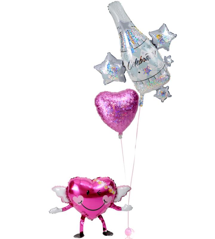 エンジェルちゃんが持つ、大きなシャンパンときらきらピンクハートの結婚式お祝いブーケ【結婚式のバルーン電報・バルーンギフト】 g-wed-0039::966【おもちゃ・ホビー・ゲーム > パーティー・イベント用品・販促品 > パーティー・イベント用品 > バルーン・風船】記念日向けギフトの通販サイト「バースデープレス」