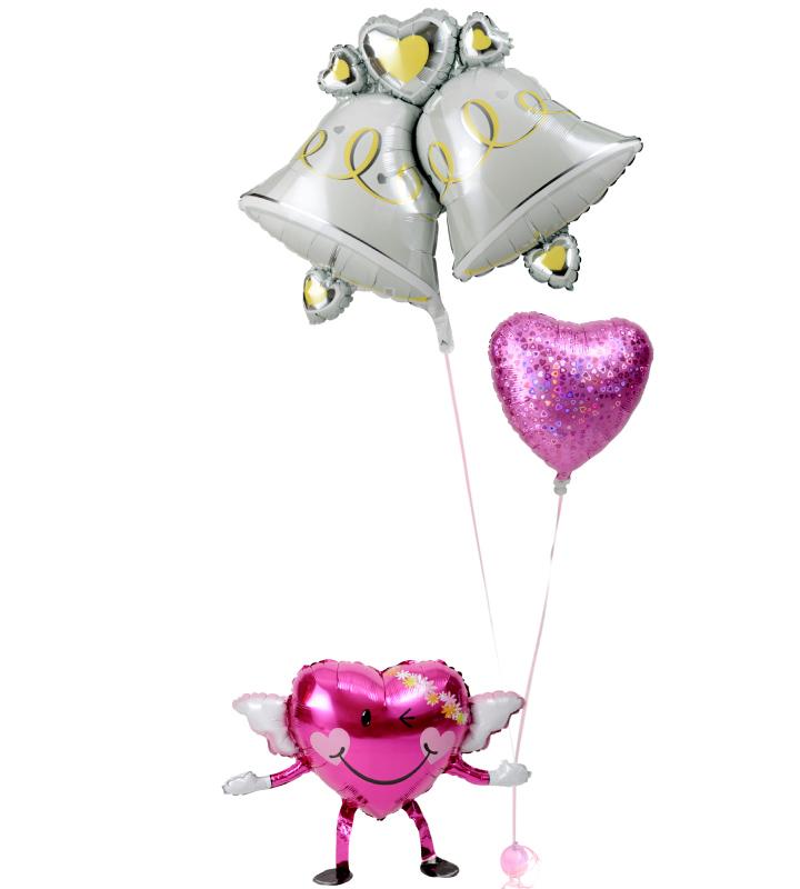 エンジェルちゃんが持つ、大きなウェディングベルときらきらピンクハートの結婚式お祝いブーケ【結婚式のバルーン電報・バルーンギフト】 g-wed-0046::966【おもちゃ・ホビー・ゲーム > パーティー・イベント用品・販促品 > パーティー・イベント用品 > バルーン・風船】記念日向けギフトの通販サイト「バースデープレス」