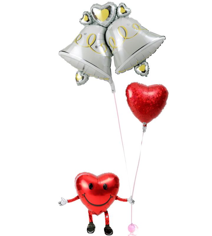 ハート君が持つ、大きなウェディングベルときらきらレッドハートの結婚式お祝いブーケ【結婚式のバルーン電報・バルーンギフト】 g-wed-0047::966【おもちゃ・ホビー・ゲーム > パーティー・イベント用品・販促品 > パーティー・イベント用品 > バルーン・風船】記念日向けギフトの通販サイト「バースデープレス」