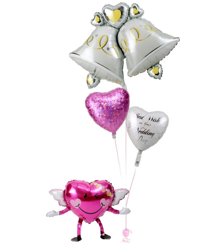 エンジェルちゃんが持つ、大きなウェディングベルときらきらピンクハート、ホワイトハートの結婚式お祝いブーケ【結婚式のバルーン電報・バルーンギフト】 g-wed-0048::966【おもちゃ・ホビー・ゲーム > パーティー・イベント用品・販促品 > パーティー・イベント用品 > バルーン・風船】記念日向けギフトの通販サイト「バースデープレス」