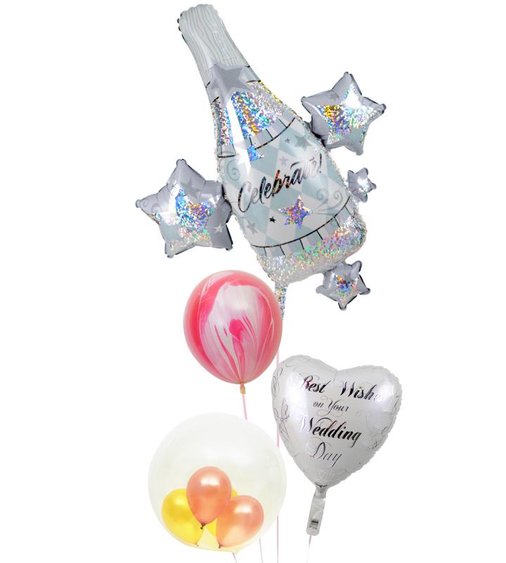 大きなシャンパンとピンクマーブル、ホワイトハート、ピンク&ゴールドのぷちバルーンの結婚式お祝いブーケ【結婚式のバルーン電報・バルーンギフト】 g-wed-0061::966【おもちゃ・ホビー・ゲーム > パーティー・イベント用品・販促品 > パーティー・イベント用品 > バルーン・風船】記念日向けギフトの通販サイト「バースデープレス」