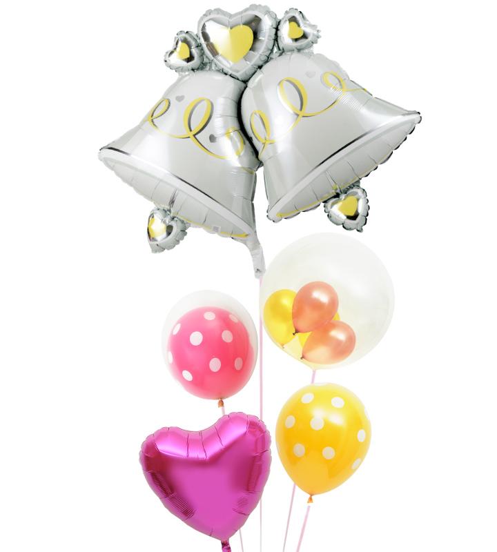 大きなウェディングベルとゴールド&ピンクのぷちハート、ピンクドット、イエロードット、ピンクハートの結婚式お祝いブーケ【結婚式のバルーン電報・バルーンギフト】 g-wed-0064::966【おもちゃ・ホビー・ゲーム > パーティー・イベント用品・販促品 > パーティー・イベント用品 > バルーン・風船】記念日向けギフトの通販サイト「バースデープレス」