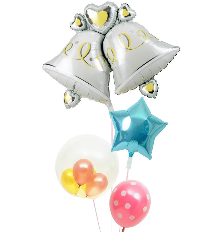 大きなウェディングベルとライトブルースター、ゴールド&ピンクのぷちバルーン、ピンクドットの結婚式お祝いブーケ【結婚式のバルーン電報・バルーンギフト】 g-wed-0072::966【おもちゃ・ホビー・ゲーム > パーティー・イベント用品・販促品 > パーティー・イベント用品 > バルーン・風船】記念日向けギフトの通販サイト「バースデープレス」