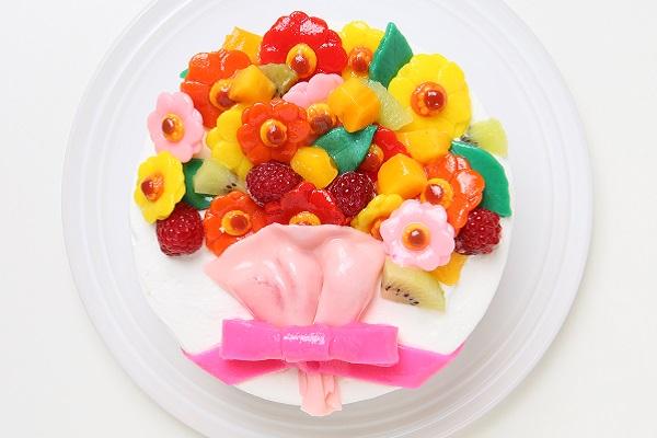 花束フルーツのデコレーション(生クリーム)(チョコ生クリーム)【15cm 5号】の画像2枚目
