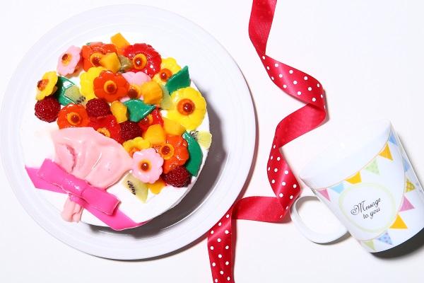 花束フルーツのデコレーション(生クリーム)(チョコ生クリーム)【15cm 5号】の画像6枚目