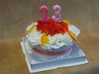 BIRTHDAYフラワーケーキ「オレンジケーキ」【花 フラワーギフト プレゼント】の画像1枚目