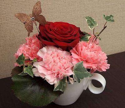フラワーカップ ピンク【誕生日 記念日 贈答 アレンジメント 花 バースデー 敬老の日】