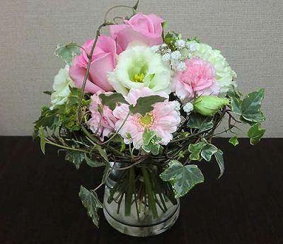 花瓶付き花束 ピンク【誕生日 記念日 贈答 アレンジメント 花 バースデー 敬老の日】の画像1枚目