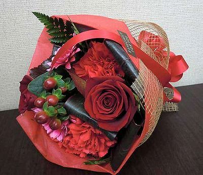花束 レッド【誕生日 記念日 贈答 アレンジメント 花 バースデー 敬老の日】