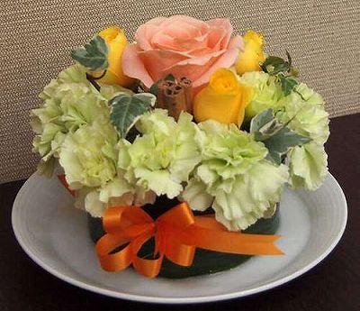 フラワーケーキ イエロー【誕生日 記念日 贈答 アレンジメント 花 バースデー 敬老の日】