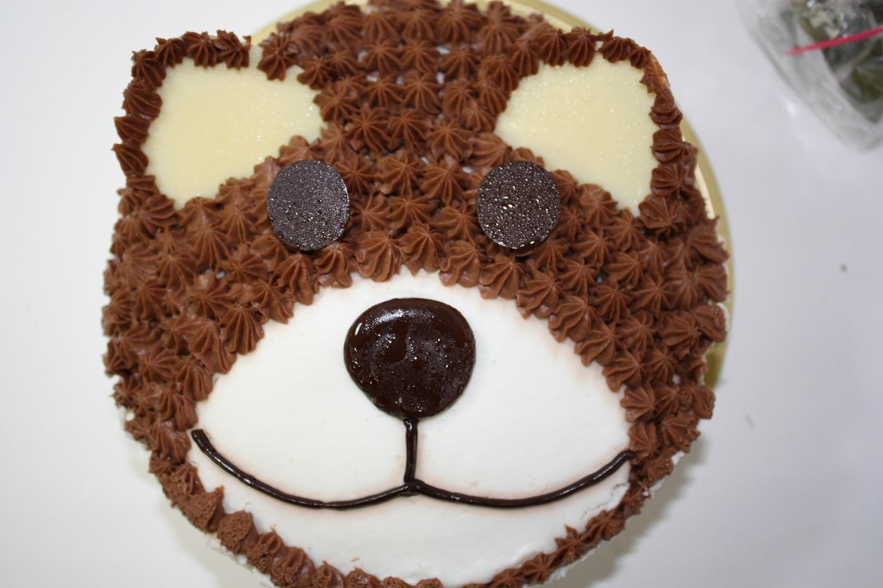 立体生クリームデコレーションケーキ くま 6号 18cm