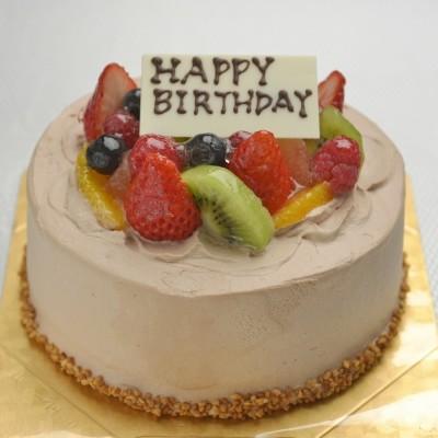 フルーツをふんだんに使った☆チョコ生フルーツケーキ 7号 21cmの画像1枚目